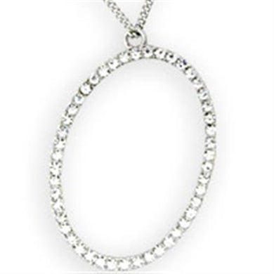 36106 Rhodium Brass Necklace with Top Grade Crystal in Clear