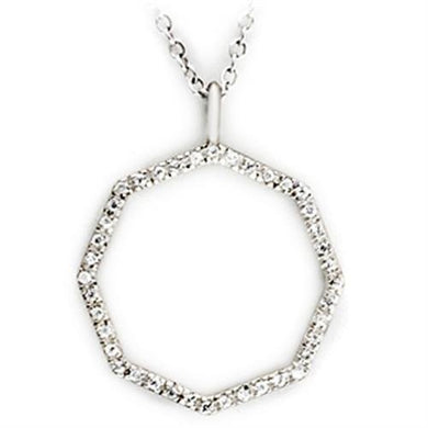 36513 - High-Polished 925 Sterling Silver Pendant with AAA Grade CZ  in Clear
