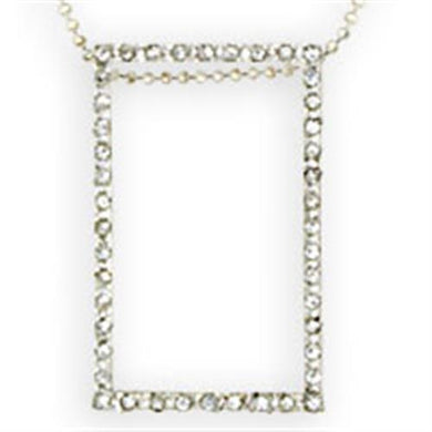 36516 - High-Polished 925 Sterling Silver Chain Pendant with Top Grade Crystal  in Clear