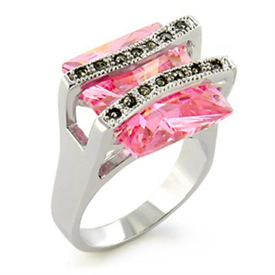 37623 - Antique Tone 925 Sterling Silver Ring with AAA Grade CZ  in Rose