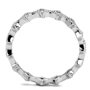 3W1231 - Rhodium Brass Ring with AAA Grade CZ  in Clear