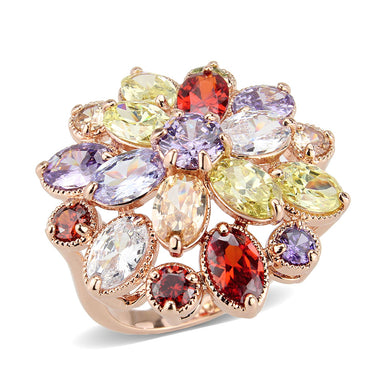 3W1603 - Rose Gold Brass Ring with AAA Grade CZ in MultiColor