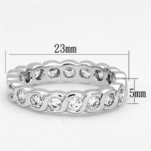 3W462 - Rhodium Brass Ring with AAA Grade CZ  in Clear