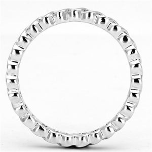 3W489 - Rhodium Brass Ring with AAA Grade CZ  in Clear