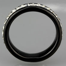 Load image into Gallery viewer, 3W969 - High polished (no plating) Stainless Steel Ring with Ceramic  in Jet