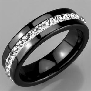 3W969 - High polished (no plating) Stainless Steel Ring with Ceramic  in Jet