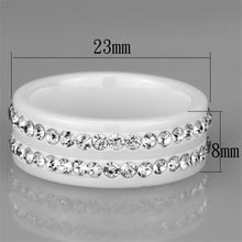Load image into Gallery viewer, 3W970 - High polished (no plating) Stainless Steel Ring with Ceramic  in White