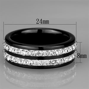 3W971 - High polished (no plating) Stainless Steel Ring with Ceramic  in Jet