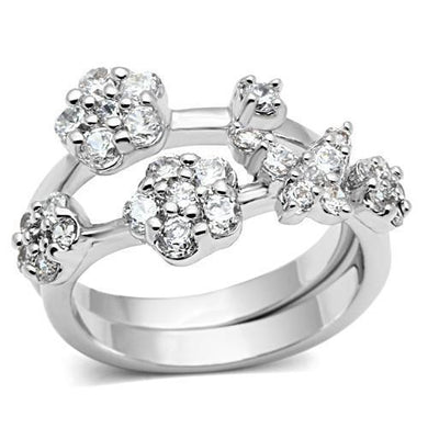 3W026 - Rhodium Brass Ring with AAA Grade CZ  in Clear