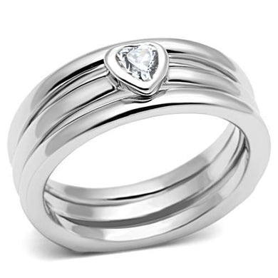 3W027 - Rhodium Brass Ring with AAA Grade CZ  in Clear