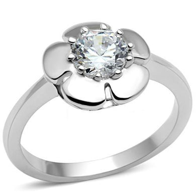3W041 - Rhodium Brass Ring with AAA Grade CZ  in Clear