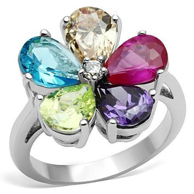 3W045 - Rhodium Brass Ring with AAA Grade CZ  in Multi Color