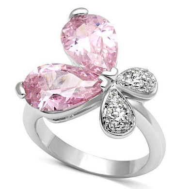 3W051 - Rhodium Brass Ring with AAA Grade CZ  in Rose