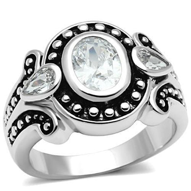 3W056 - Rhodium Brass Ring with AAA Grade CZ  in Clear