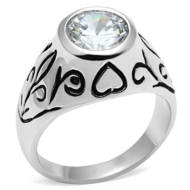 3W057 - Rhodium Brass Ring with AAA Grade CZ  in Clear