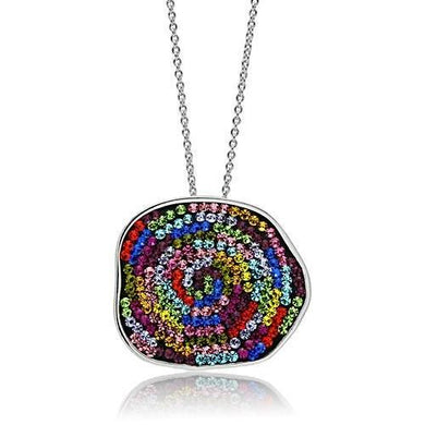 3W071 - Rhodium Brass Pendant with Top Grade Crystal  in Multi Color