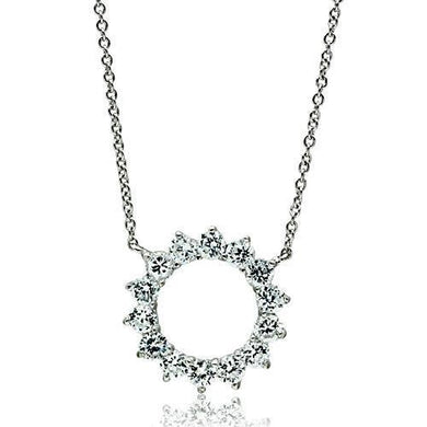 3W072 Rhodium Brass Necklace with AAA Grade CZ in Clear