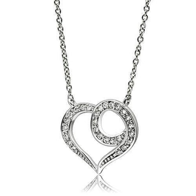 3W075 - Rhodium Brass Necklace with AAA Grade CZ  in Clear