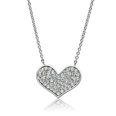3W076 - Rhodium Brass Necklace with AAA Grade CZ  in Clear