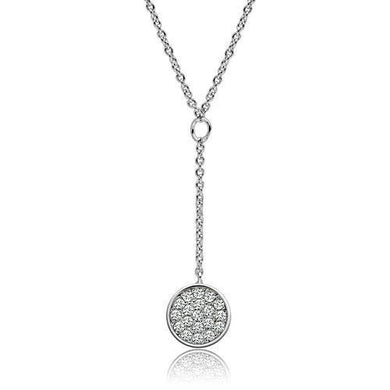 3W077 - Rhodium Brass Necklace with AAA Grade CZ  in Clear