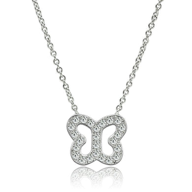 3W078 - Rhodium Brass Necklace with AAA Grade CZ  in Clear