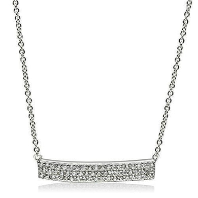 3W079 - Rhodium Brass Necklace with AAA Grade CZ  in Clear