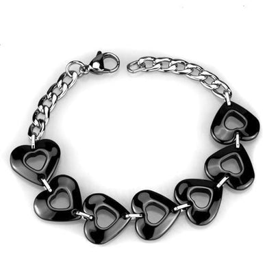 3W1007 - High polished (no plating) Stainless Steel Bracelet with Ceramic  in Jet