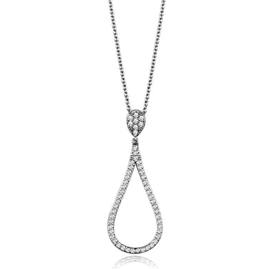3W1019 - Rhodium Brass Chain Pendant with AAA Grade CZ  in Clear
