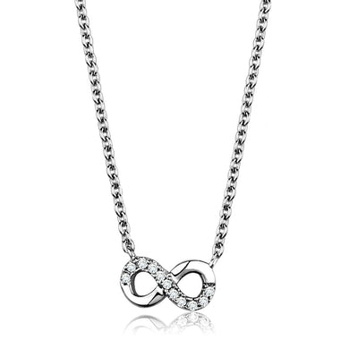 3W1022 - Rhodium Brass Chain Pendant with AAA Grade CZ  in Clear