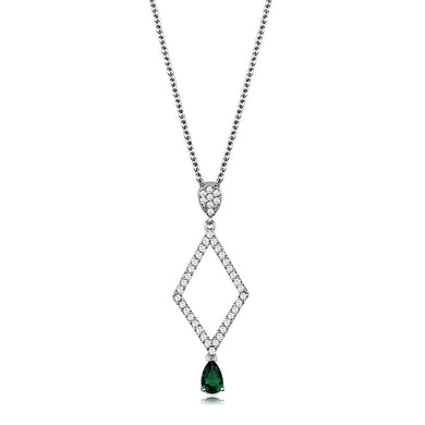 3W1026 - Rhodium Brass Chain Pendant with Synthetic Synthetic Glass in Emerald