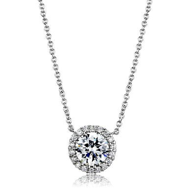 3W1027 - Rhodium Brass Chain Pendant with AAA Grade CZ  in Clear