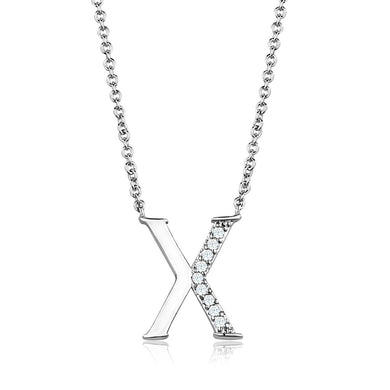 3W1030 - Rhodium Brass Chain Pendant with AAA Grade CZ  in Clear