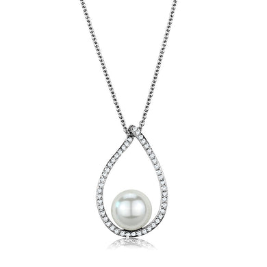 3W1036 - Rhodium Brass Chain Pendant with Synthetic Pearl in White