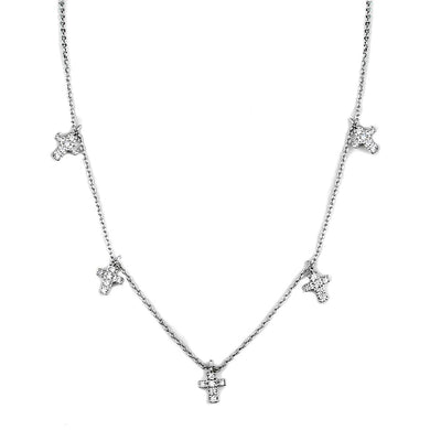 3W1037 - Rhodium Brass Chain Pendant with AAA Grade CZ  in Clear