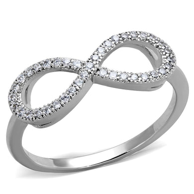 3W1068 - Rhodium Brass Ring with AAA Grade CZ  in Clear