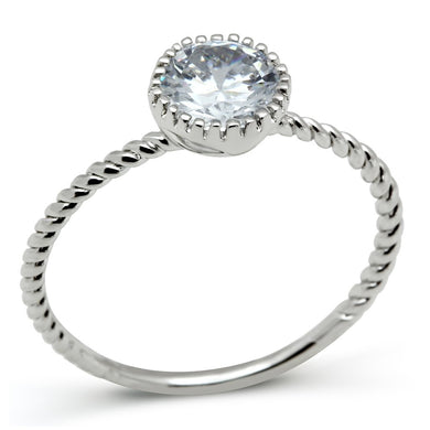 3W108 - Rhodium Brass Ring with AAA Grade CZ  in Clear