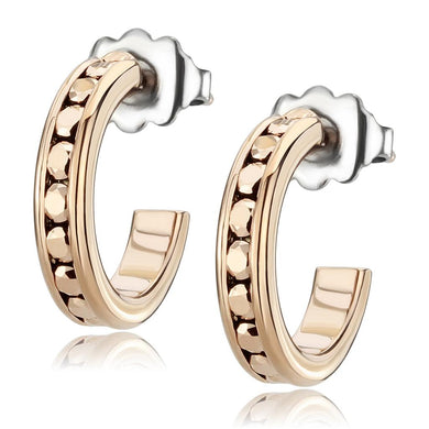 3W1142 - IP Rose Gold(Ion Plating) Brass Earrings with Top Grade Crystal  in Metallic Light Gold