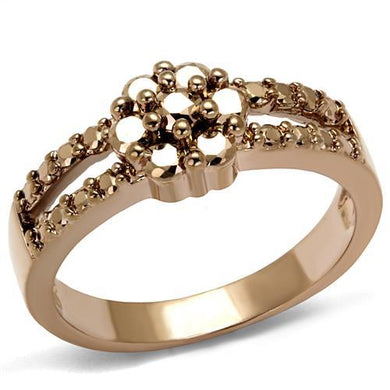 3W1192 - IP Rose Gold(Ion Plating) Brass Ring with AAA Grade CZ  in Metallic Light Gold