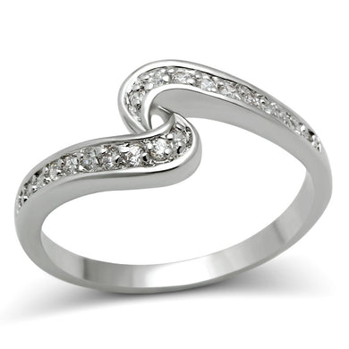 3W119 - Rhodium Brass Ring with AAA Grade CZ  in Clear