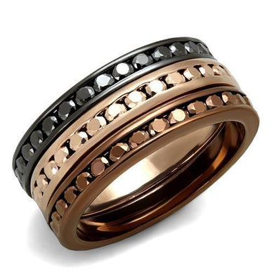 3W1208 - IP Rose Gold & IP Light Black & IP Light coffee Brass Ring with Top Grade Crystal  in Multi Color