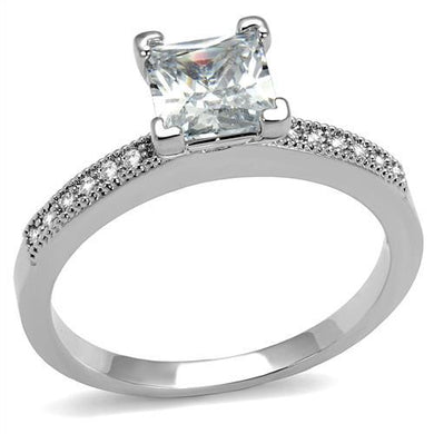 3W1209 - Rhodium Brass Ring with AAA Grade CZ  in Clear