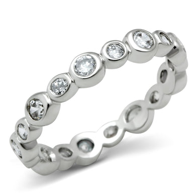 3W121 - Rhodium Brass Ring with AAA Grade CZ  in Clear
