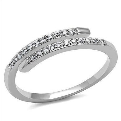 3W1222 - Rhodium Brass Ring with AAA Grade CZ  in Clear