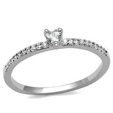 3W1224 - Rhodium Brass Ring with AAA Grade CZ  in Clear