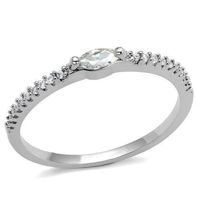 3W1225 - Rhodium Brass Ring with AAA Grade CZ  in Clear