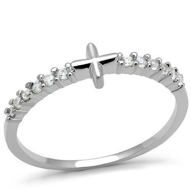 3W1227 - Rhodium Brass Ring with AAA Grade CZ  in Clear