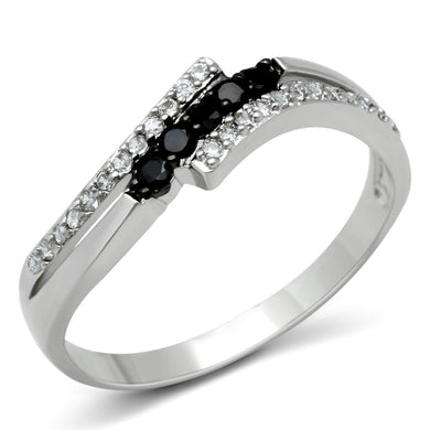 3W122 - Rhodium + Ruthenium Brass Ring with AAA Grade CZ  in Jet