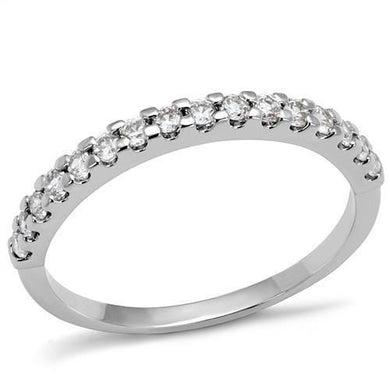 3W1232 - Rhodium Brass Ring with AAA Grade CZ  in Clear