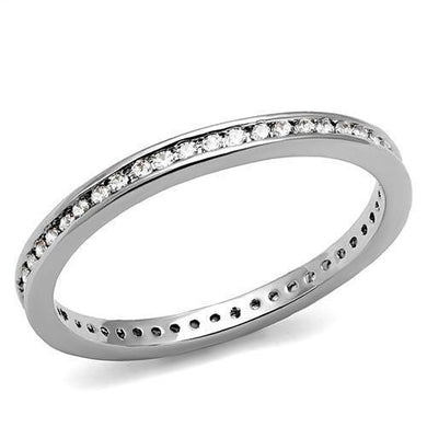 3W1241 - Rhodium Brass Ring with AAA Grade CZ  in Clear