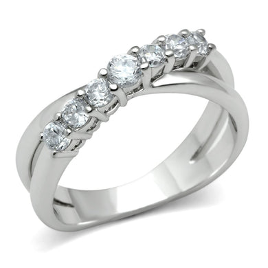 3W124 - Rhodium Brass Ring with AAA Grade CZ  in Clear